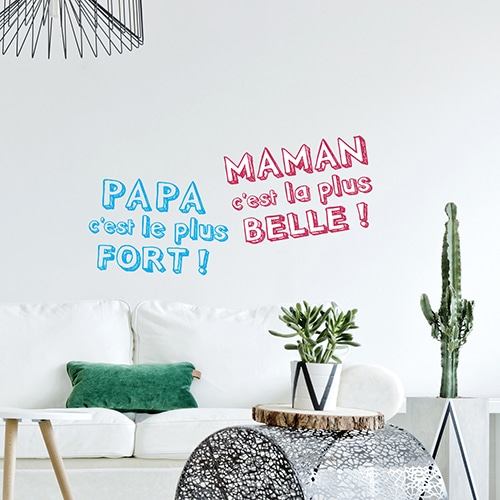 Citation Papa et Maman dans un salon