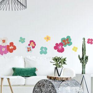 Adhésif Fleurs Exotiques Colorées dans un salon