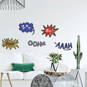 Stickers comics mis dans un salon