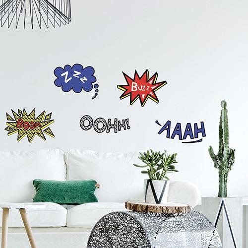 Mini stickers adhésifs yeux de BD avec plante décorative