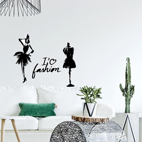Sticker déco sur la mode avec silhouette mis dans un salon