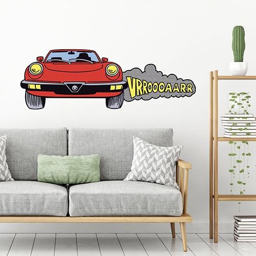 Sticker Voiture Mustang collé sur un mur de salon
