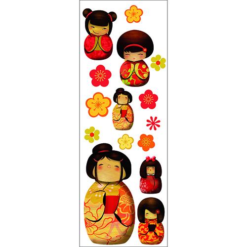 Stickers adhésifs Poupée Kokeshi de couleurs