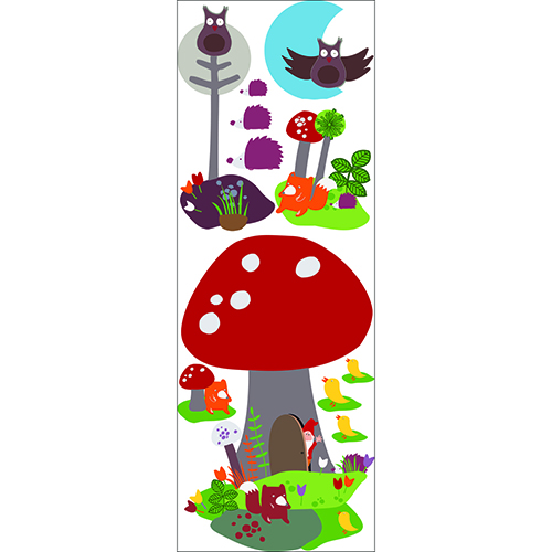 Stickers adhésifs Maison Champignon animaux de la forêt