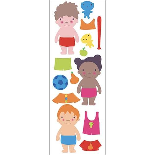 Stickers de poupées dessinés à habiller et prêt à coller sur un mur