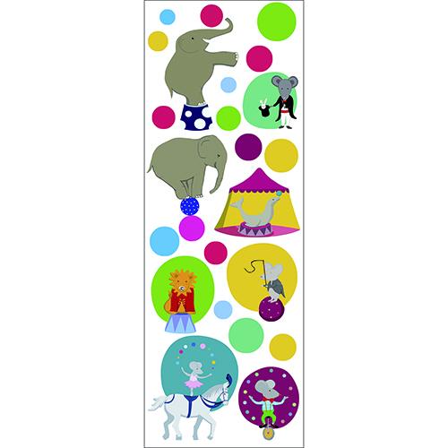Autocollants pour enfant représentant un cirque (elephant, cheval, lion, souris)