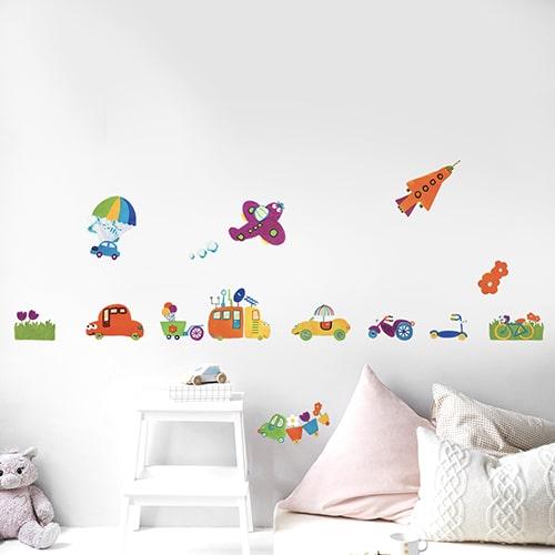Adhésif de Voitures, avions, fusées dessiné pour les enfants