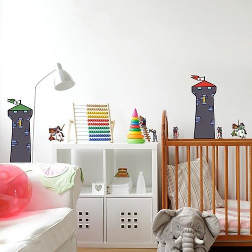 Sticker dessins de Tours des Chevaliers collé dans une chambre d'enfant
