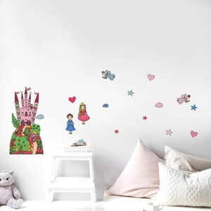Sticker planche Château de Princesses dans une chambre d'enfant avec coussins clairs