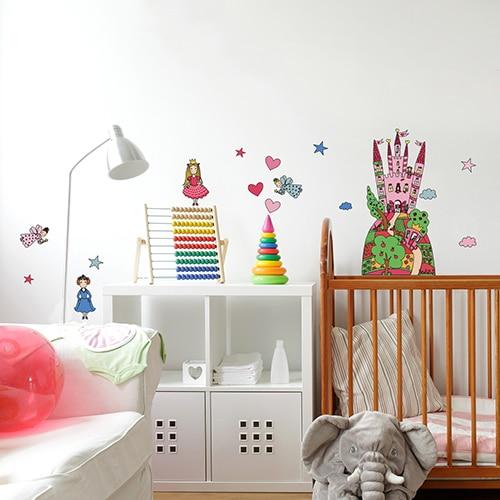 Sticker planche Château de Princesses dans une chambre d'enfant