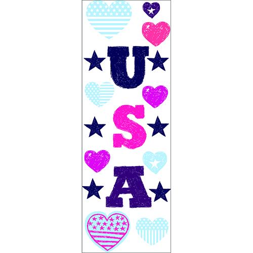 Autocollants des lettres USA avec des drapeaux en coeur à coller au mur