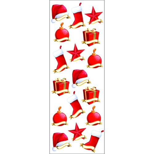 Sticker Étiquettes avec chapeau de noel, chaussette et papier cadeau rouge