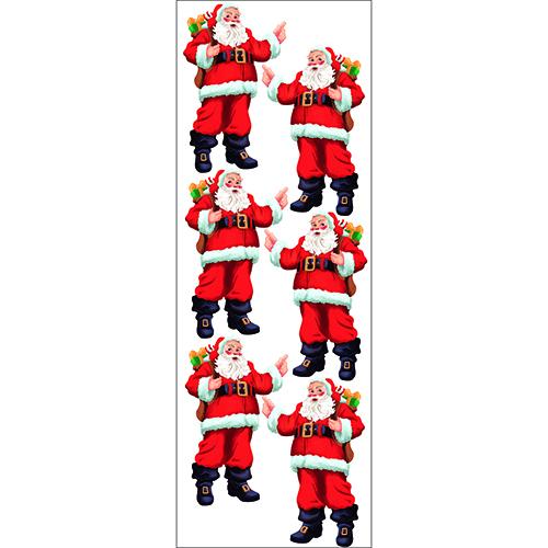 Planche de 6 stickers de père noel à coller au mur, des cadeaux ou des vitres pour déco de Noël