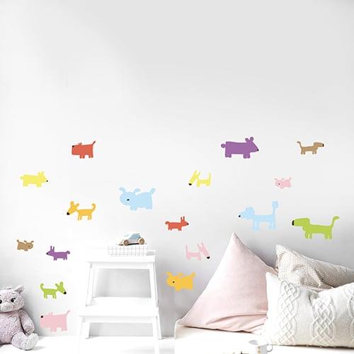 Sticker de Chiens Colorés dessiné pour enfant