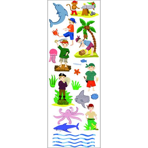 Planche de sticker avec des pirates, un trésors, des animaux marins et un canon