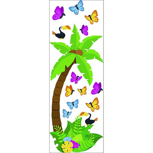 Autocollant adhésif de la jungle avec un cocotier et des papillons dessiné