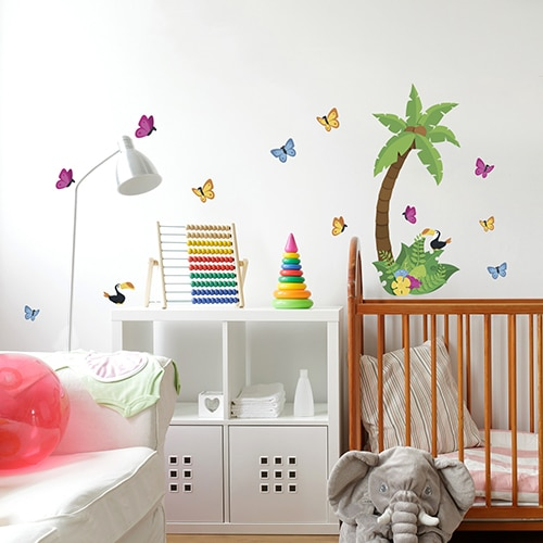 stickers autocollants petite jungle d coration chambre d 39 enfant. Black Bedroom Furniture Sets. Home Design Ideas