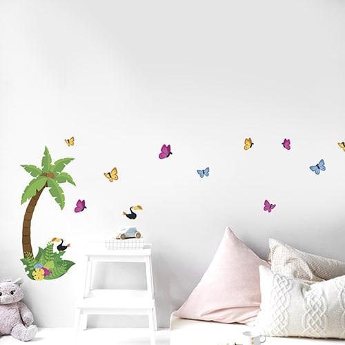 Sticker de dessins d'une petite Jungle dans une chambre d'enfant
