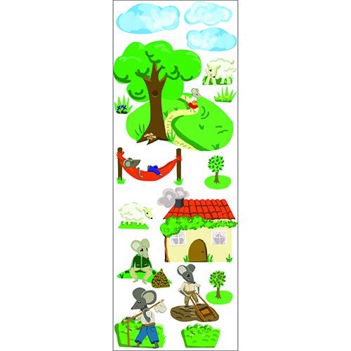 Planche de sticker dessiné de Souris à la campagne