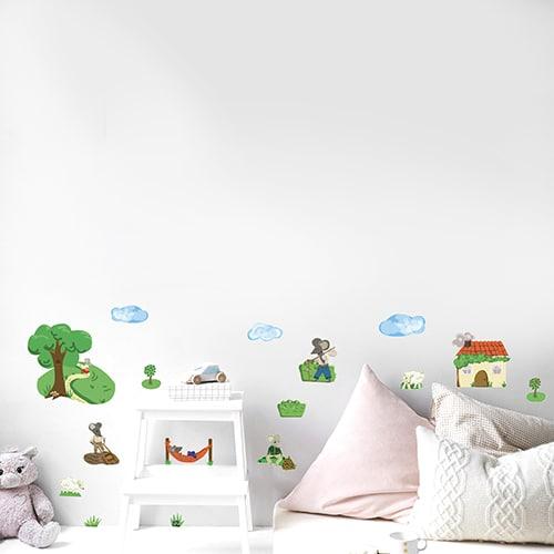 Sticker Souris à la campagne sur les murs d'une chambre enfant