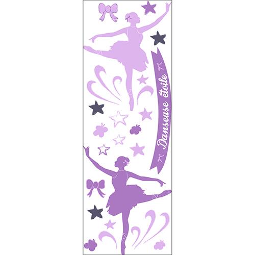 Sticker mural Planche Danseuses Etoiles Roses