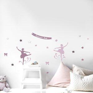 Stickers muraux danseuses étoiles roses