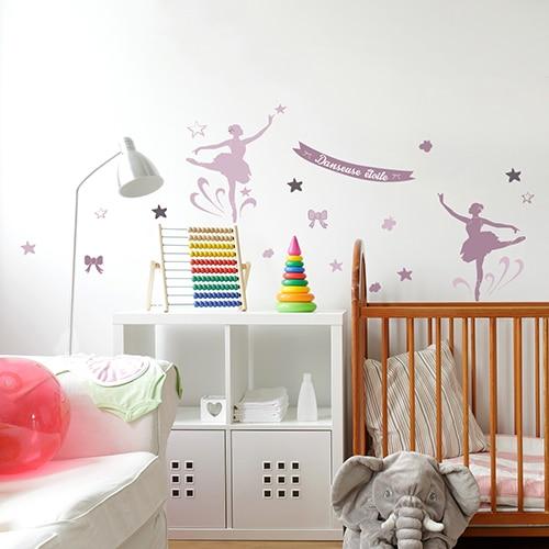 Sticker adhésif chambre d'enfant danseuses étoiles roses