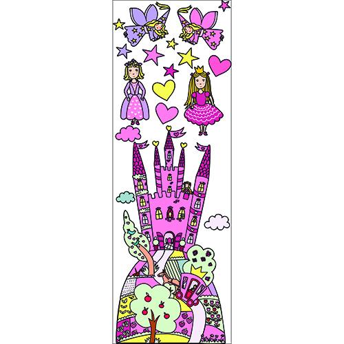 Sticker dessiné d'un Château Enchanté Rose pour une fille
