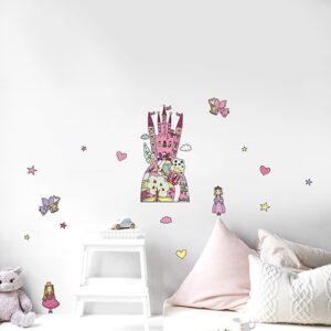 Adhésif d'un dessin de Château Enchanté Rose pour la chambre d'une fille