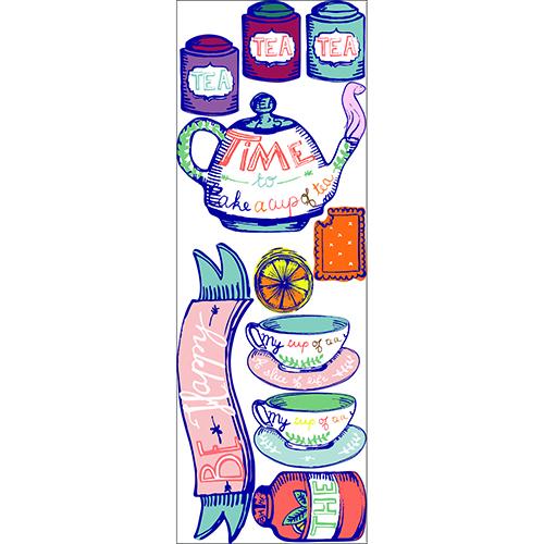 Adhésifs déco avec bouilloire et boite de thé pour cuisine