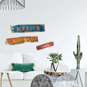 Sticker Planche en bois avec Mexico et Africa