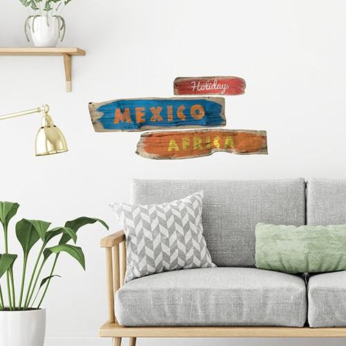 Stickers Panneau pays Mexico et Africa