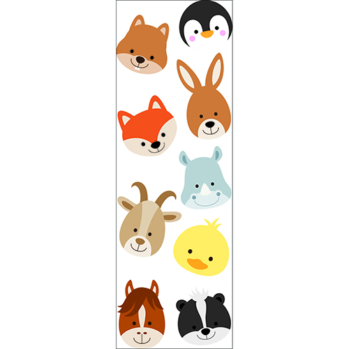 Stickers autocollants Planche Adorables Frimousses d'Animaux