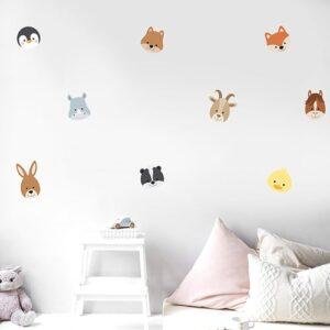 Sticker adhésif Planche Adorables Frimousses d'Animaux dans chambre d'enfant