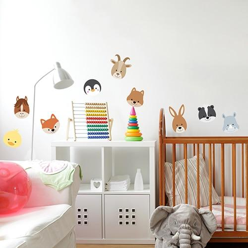 Sticker autocollant Planche Adorables Frimousses d'Animaux dans chambre bébé