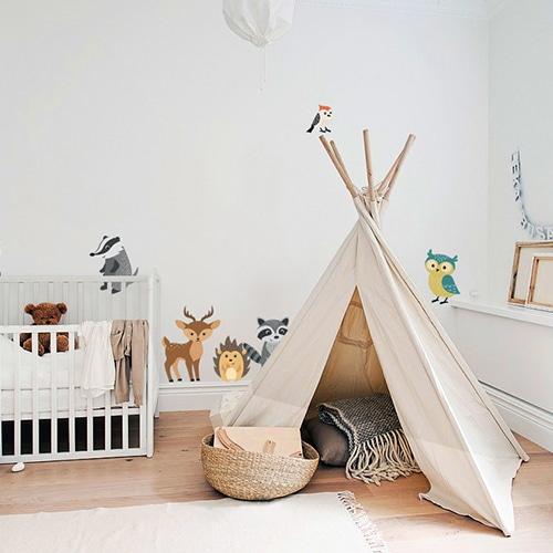 Stickers Animaux des bois dans chambre d'enfant