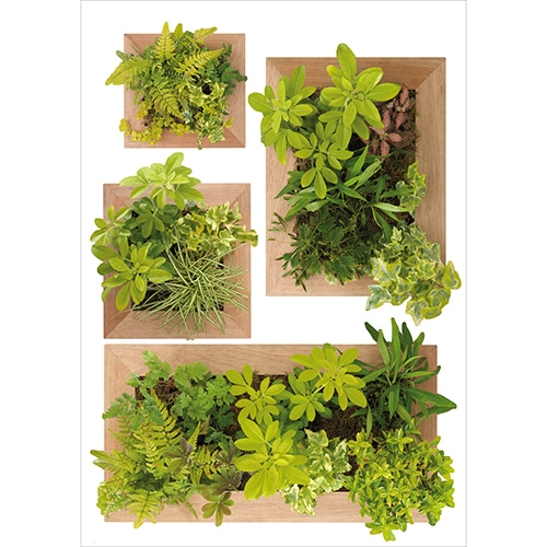 Lot de 4 Stickers autocollant de Faux Jardin Vertical