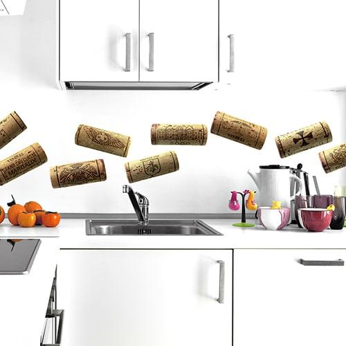 Stickers adhésif de bouchons de bouteilles de vins à coller au mur