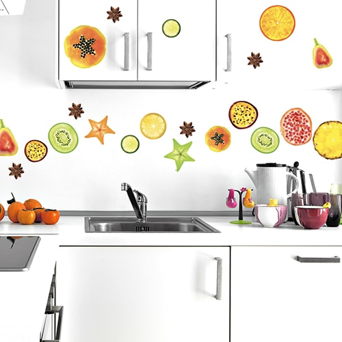 Lot d'autocollant de fruits exotique à coller au mur