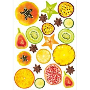 Lot d'autocollant de fruits exotique à coller au mur