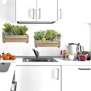 2 jardinière aromatique collé au mur dans une cuisine