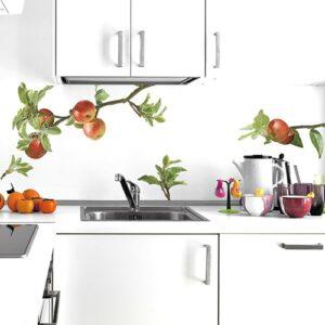 Sticker Planche Pommes sur la Branche dans une cuisine au-dessus d'un plan de travail