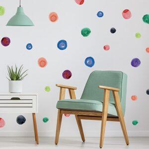 Stickers tâches de peinture aquarelle misent dans un salon