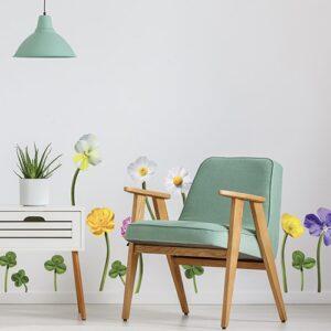 Stickers planche Fleurs des Champs dans un salon avec un fauteuil vert
