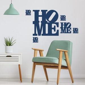 """Sticker bleu du mot """"Home"""" dans un salon"""