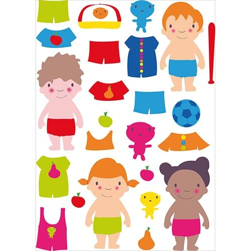 Lot de sticker autocollant de personnages à habiller - prêt à coller sur un mur