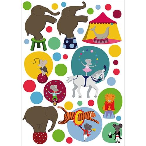 Autocollants Spectacle de Cirque avec elephant, souris et magicien