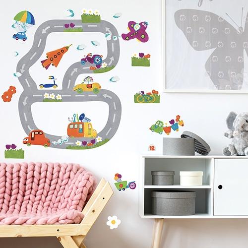 Stickers planche Circuit Automobile dans une chambre d'enfant