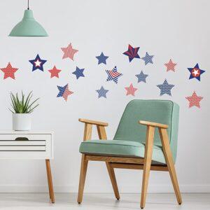 Stickers adhésifs étoiles des USA dans un mur de salon