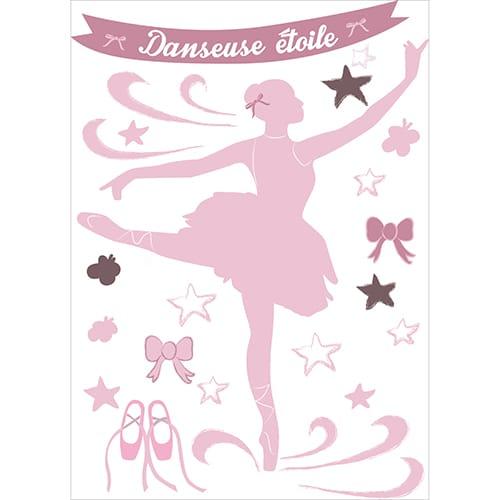 Planche d'autocollant de danseuse étoile à coller au mur